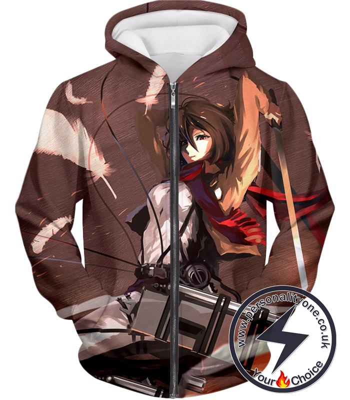 Attack on Titan The Survey Corps Emblem Black Zip Up Hoodie