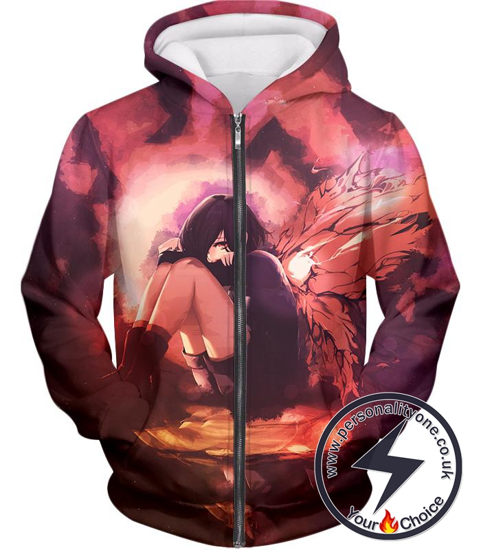 Tokyo Ghoul Protective and Caring Ghoul Kagune Winged Touka Zip Up Hoodie